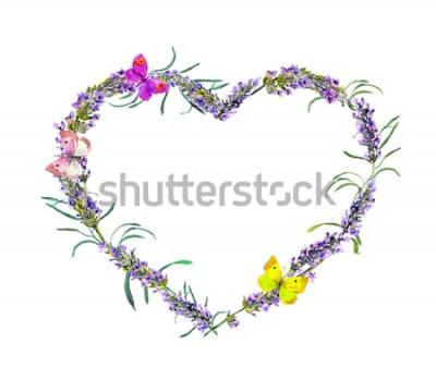 Adesivo Fiori e farfalle di lavanda. Cornice floreale cuore dell'acquerello per San Valentino, matrimonio