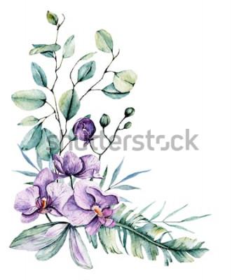 Adesivo Fiori tropicali dell'acquerello, bordo con foglie e orchidee. Pittura botanica, disposizione per partecipazione di nozze, saluti, sfondi, invito, blog ecc. Isolato su bianco.