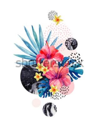 Adesivo Fiori tropicali dell'acquerello su fondo geometrico con marmorizzazione, strutture di scarabocchio. Fiore disegnato a mano con palma a ventaglio, foglie di monstera, forme geometriche in stile min