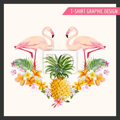Adesivo Fiori tropicali e Flamingo Graphic Design - per la maglietta, la moda
