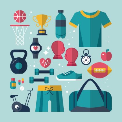 Adesivo Fitness and health flat icons set