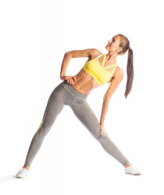 Adesivo Fitness donna facendo esercizio, sorridente e cercare isolato su sfondo bianco