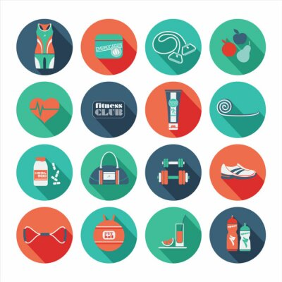 Adesivo Fitness icone set. Design piatto