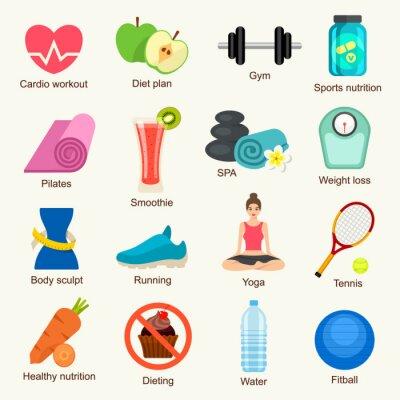 Adesivo Fitness set di icone
