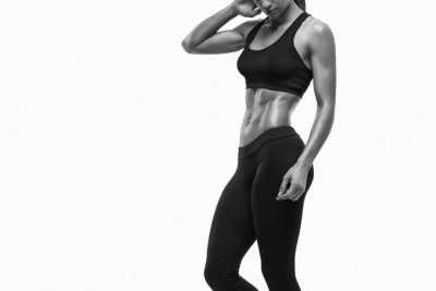 Adesivo Fitness sporty woman showing her well trained body