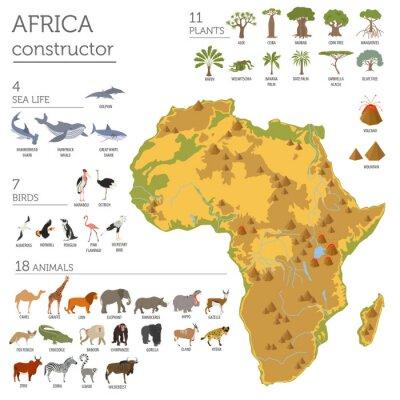 Adesivo flora e fauna Africa piatti mappa elementi di costruzione. Animali, b