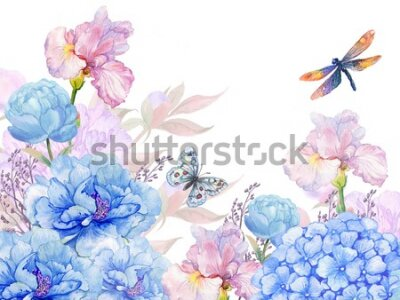 Adesivo floral background .illustration of watercolor. flowers peonies, irises, hydrangeas,butterflies and dragonflies . postcard floral pattern