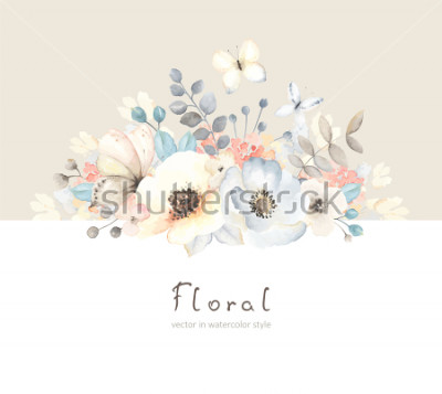 Adesivo Floral card with flowers, leaves, branches and butterfies in vintage watercolor style. Holiday template for your text, vector illustration on beige and white background.
