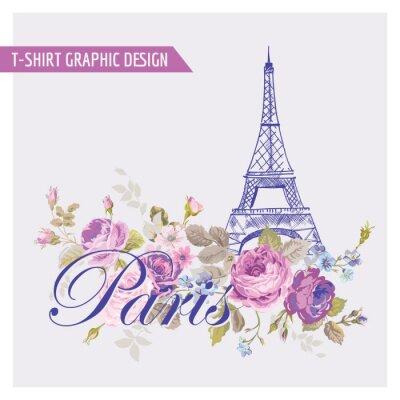 Adesivo Floral Parigi Graphic Design - per t-shirt, moda, stampe