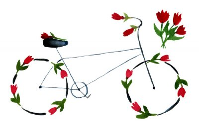 Adesivo Flower bike. Hand drawn watercolor illustration on paper. Black noir bike with red roses, poppies with green leaves. Romantic love. Isolated on white background