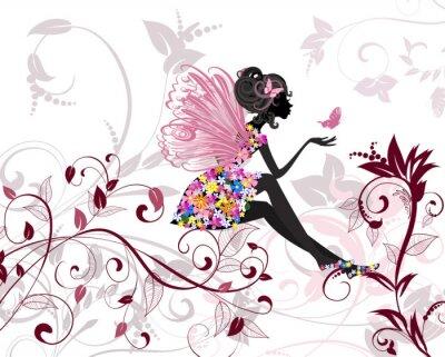 Adesivo Flower Fairy con le farfalle