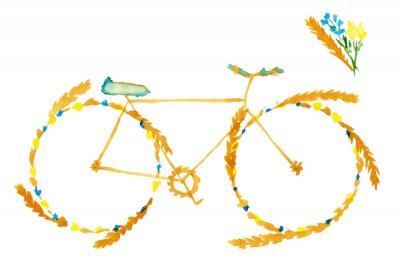 Adesivo Flower spring summer bike. Hand drawn watercolor illustration on paper.  Yellow bicycle with meadow flowers blue and ears of cereal: wheat, rye. Isolated on white background