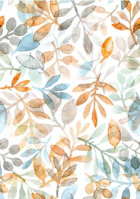 Adesivo foglie e rami dipinti a mano ad acquerello. modello senza cuciture su uno sfondo bianco