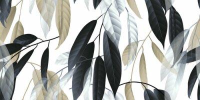Adesivo Foglie lunghe senza cuciture, nere, dorate e bianche su fondo grigio chiaro