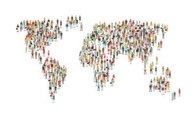 Adesivo Folla di persone che compongono una mappa del mondo