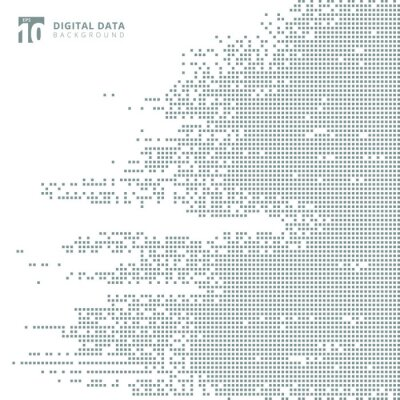 Adesivo Fondo grigio del pixel del modello del quadrato di dati digitali astratti di tecnologia.