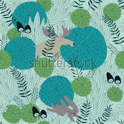 Adesivo Fondo senza cuciture della foresta con piante della foresta carina, alci, lepri e funghi, in stile cartone animato.