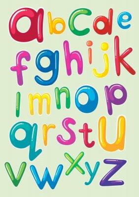 Adesivo font design con alfabeti inglese