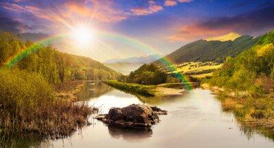 Adesivo foresta fluviale con le pietre e l'erba al tramonto