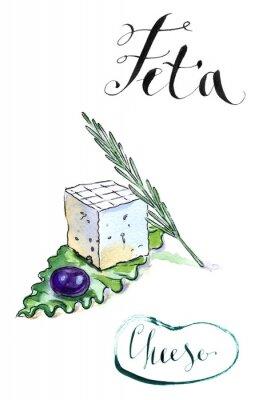 Adesivo formaggio feta Delicious fette greca con olive, rosmarino e Sala