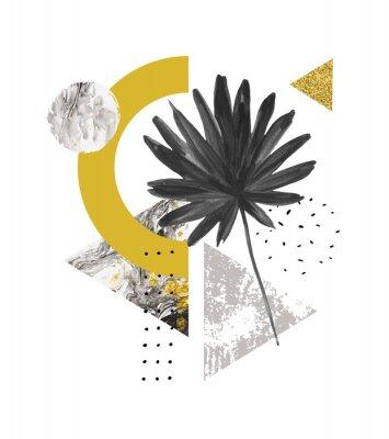 Adesivo Forme geometriche astratte estive, foglia esotica. Triangoli pieni di marmo, trame grunge, scarabocchi, foglie di palma. Illustrazione di arte geometrica dipinta a mano in stile minimal moderno