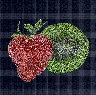 Adesivo Fragola e kiwi illustrazione