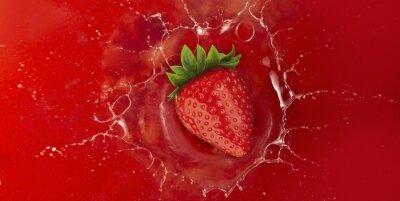 Adesivo fragola splash in liquido succo rosso