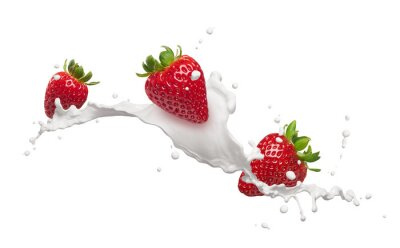 Adesivo fragole con latte splash