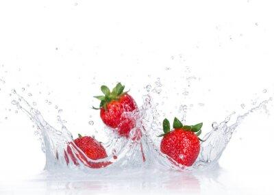 Adesivo Fragole fresche con spruzzi d'acqua
