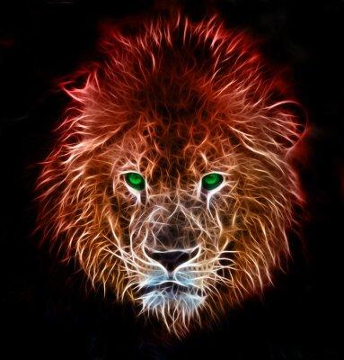 Adesivo Frattale fantasia arte digitale di un leone su uno sfondo isolato