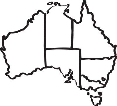 Adesivo Freehand Australia Regione schizzo su sfondo bianco. Illustrazione vettoriale.
