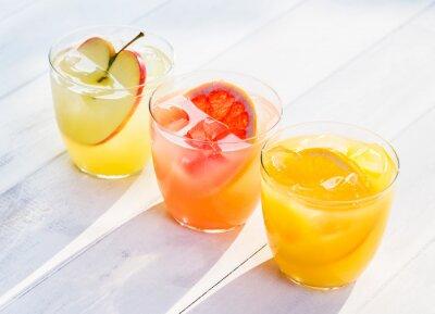 Adesivo Fresh fruit juice from oranges apples pink grapefruit