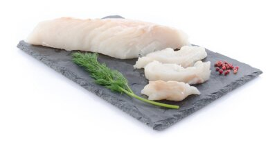 Adesivo Fresh raw cod fillet on a slate plate