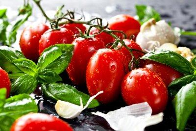 Adesivo Frische Tomaten mit Basilikum und Knoblauch