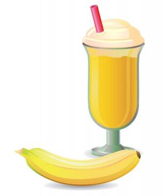 Adesivo Frullato di banana con paglia vettore