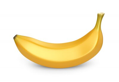 Adesivo Frutta Banana, icona 3D. Illustrazione isolato su sfondo bianco