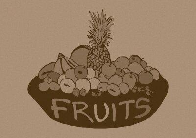 Adesivo Frutta Vintage cesto