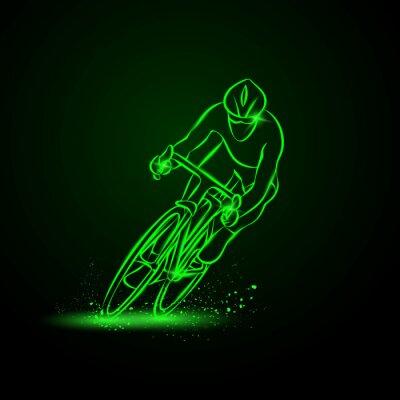 Adesivo Gara ciclistica. Vista frontale. Vector neon illustrazione.