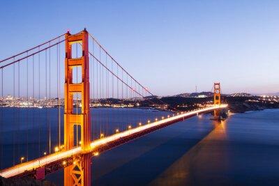 Adesivo gate bridge oro nel cielo blu all'alba