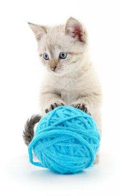 Adesivo Gatto con gomitolo di lana