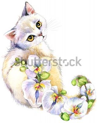 Adesivo Gatto. Illustrazione ad acquerello fiore