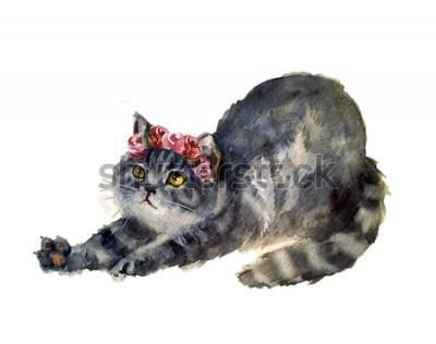 Adesivo Gatto sveglio dell'acquerello con fiori