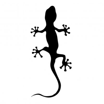 Adesivo geco in nero silhouette illustrazione vettoriale
