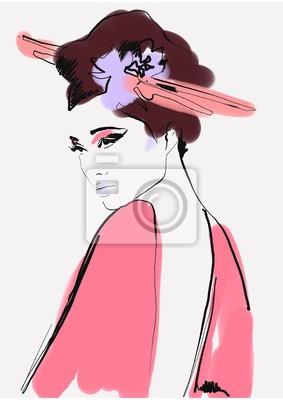 Adesivo geisha. woman in kimono. asian woman. fashion background.
