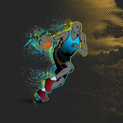 Adesivo giocatore di basket dribbling la palla