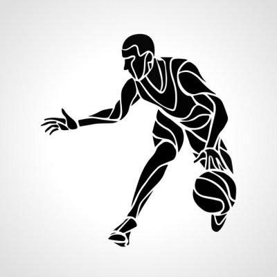 Adesivo Giocatore di basket silhouette astratta