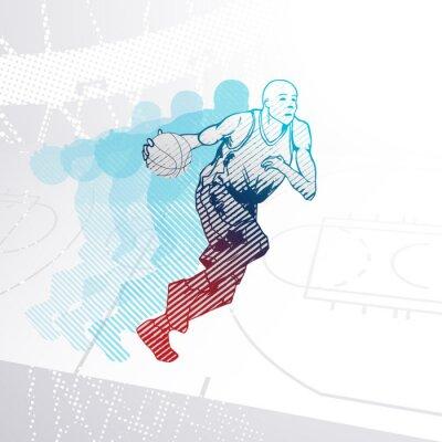 Adesivo Giocatore di pallacanestro stilizzato dribbling la palla