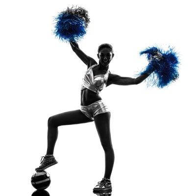 Adesivo giovane donna cheerleader silhouette