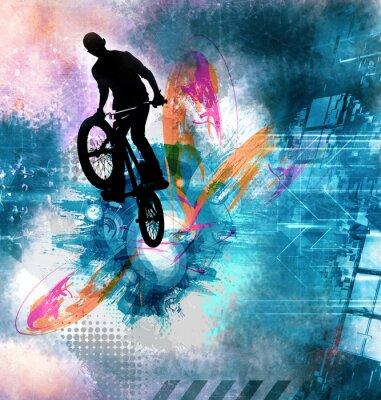 Adesivo Giovane maglione da bicicletta maschio. Uno stile di vita sano