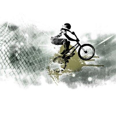 Adesivo Giovane maglione da bicicletta maschio. Uno stile di vita sano.